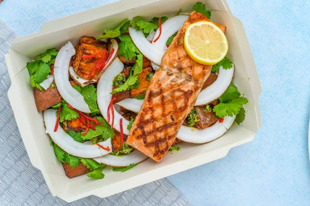 grilled salmon fillet with salad