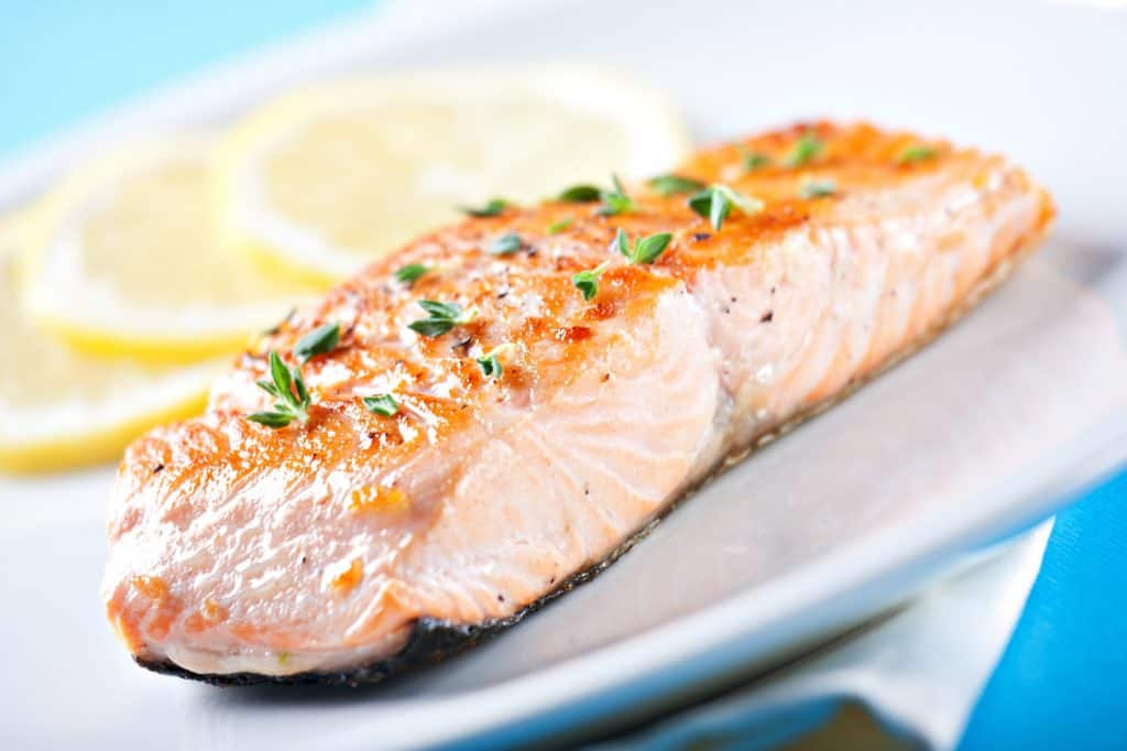 Fillet of salmon baked with the skin on