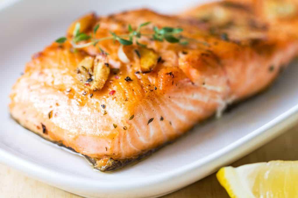 pan fried salmon, skin down