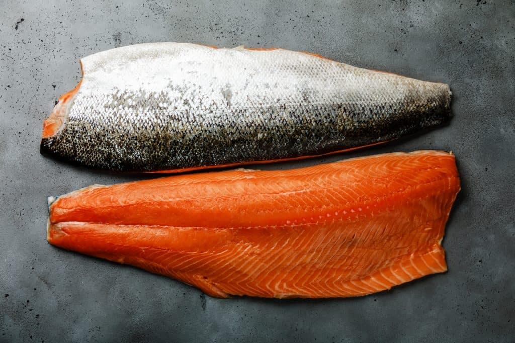 raw salmon with skin